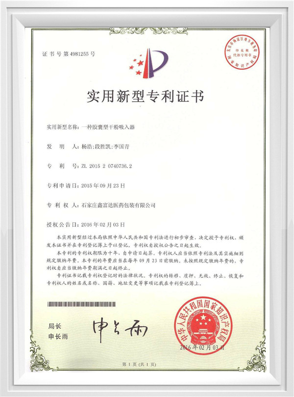 胶囊型干粉吸入器专利证书
